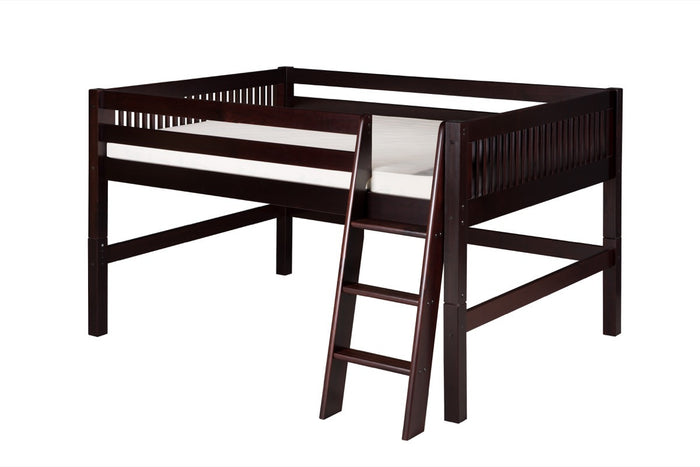 Camaflexi Full Low Loft Bed - Mission Headboard - Cappuccino Finish - C412F_CP
