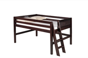 Camaflexi Full Low Loft Bed - Mission Headboard - Lateral Ladder - Cappuccino Finish - C412LF_CP-Loft Beds-HipBeds.com