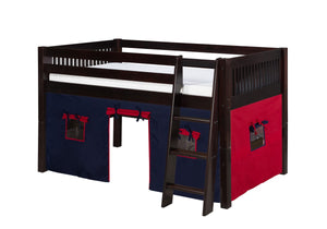 Camaflexi Low Loft Playhouse Bed - Mission Headboard - Cappuccino Finish - C412P_CP-Loft Beds-HipBeds.com