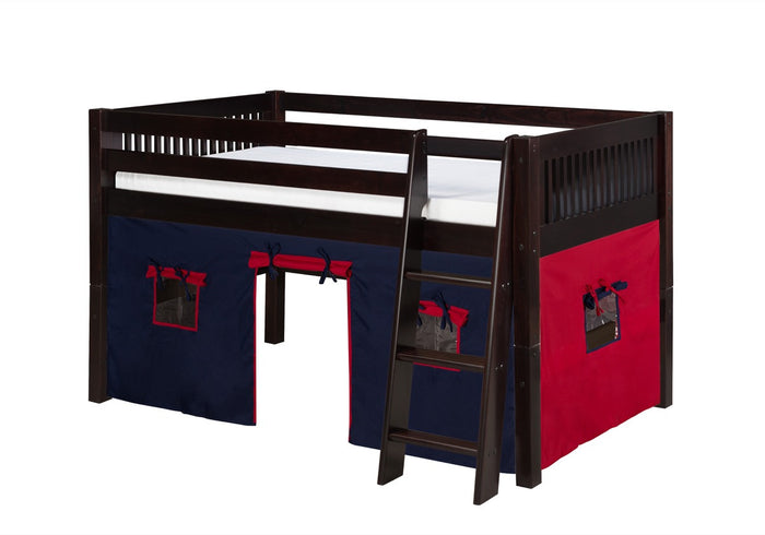 Camaflexi Low Loft Playhouse Bed - Mission Headboard - Cappuccino Finish - C412P_CP