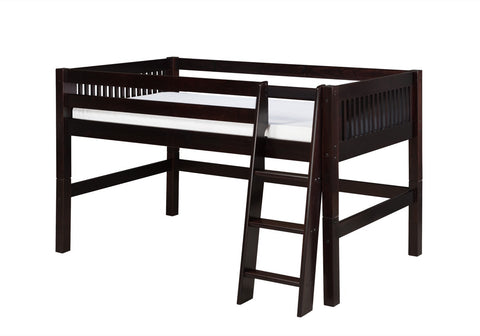Camaflexi Low Loft Bed - Mission Headboard - Cappuccino Finish - C412_CP-Loft Beds-HipBeds.com
