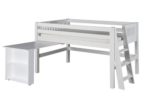 Camaflexi Low Loft Bed with Retractable Desk - Mission Headboard - Lateral Ladder - White Finish - C413DL_WH-Loft Beds-HipBeds.com