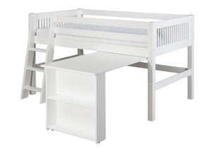 Camaflexi Low Loft Bed with Retractable Desk - Mission Headboard - White Finish - C413D_WH-Loft Beds-HipBeds.com
