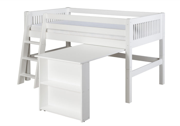 Camaflexi Low Loft Bed with Retractable Desk - Mission Headboard - White Finish - C413D_WH