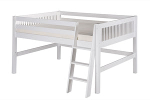 Camaflexi Full Low Loft Bed - Mission Headboard - White Finish - C413F_WH-Loft Beds-HipBeds.com