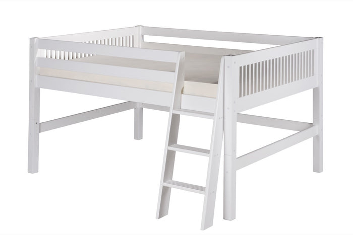 Camaflexi Full Low Loft Bed - Mission Headboard - White Finish - C413F_WH