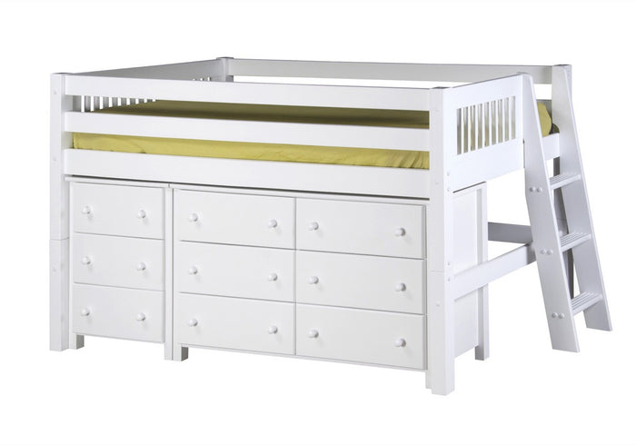 Camaflexi Low Loft Storage Bed - Mission Headboard - Lateral Ladder - White Finish - C413LS2_WH