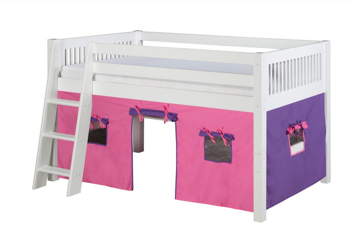 Camaflexi Low Loft Playhouse Bed - Mission Headboard - White Finish - C413P_WH