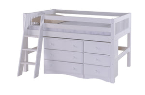 Camaflexi Low Loft Storage Bed - Mission Headboard - White Finish - C413S1_WH-Loft Beds-HipBeds.com