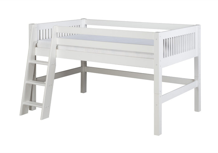 Camaflexi Low Loft Bed - Mission Headboard - White Finish - C413_WH