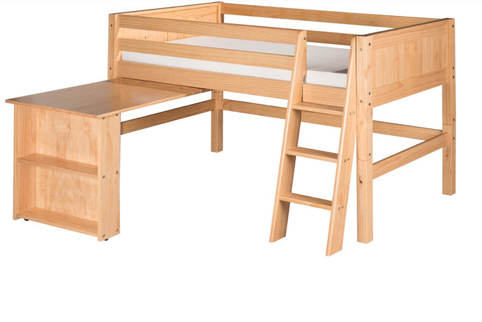 Camaflexi Low Loft Bed with Retractable Desk - Panel Headboard - Natural Finish - C421D_NT