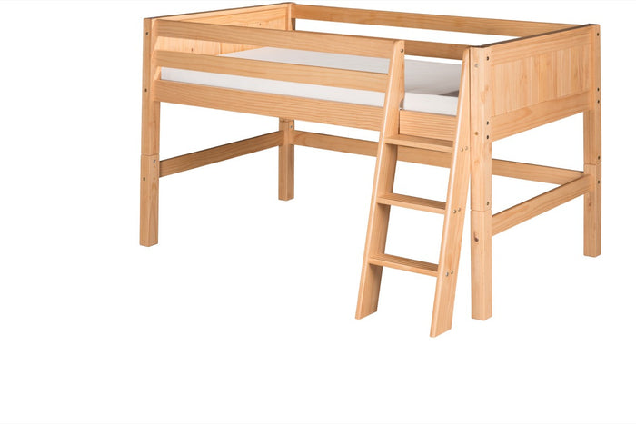 Camaflexi Low Loft Bed - Panel Headboard - Natural Finish - C421_NT