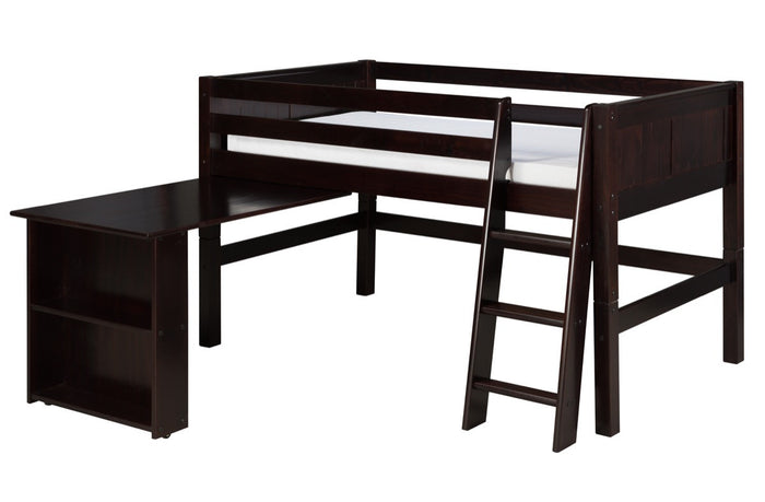 Camaflexi Low Loft Bed with Retractable Desk - Panel Headboard - Cappuccino Finish - C422D_CP