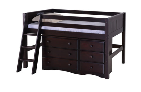 Camaflexi Low Loft Storage Bed - Panel Headboard - Cappuccino Finish - C422S1_CP-Loft Beds-HipBeds.com