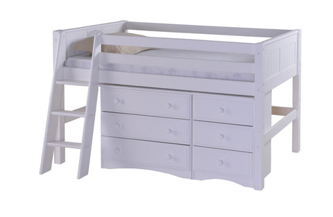 Camaflexi Low Loft Storage Bed - Panel Headboard - White Finish - C423S1_WH-Loft Beds-HipBeds.com