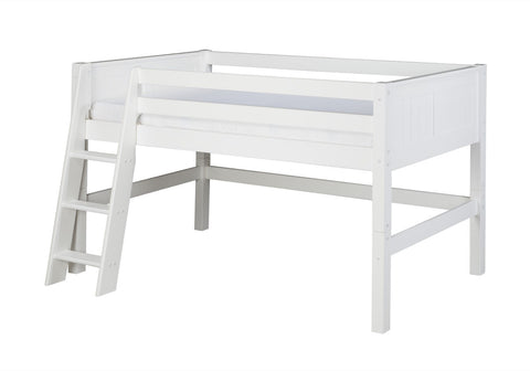 Camaflexi Low Loft Bed - Panel Headboard - White Finish - C423_WH-Loft Beds-HipBeds.com