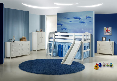 Camaflexi Low Loft Bed with Slide - Arch Spindle Headboard - White Finish - C503_WH-Loft Beds-HipBeds.com