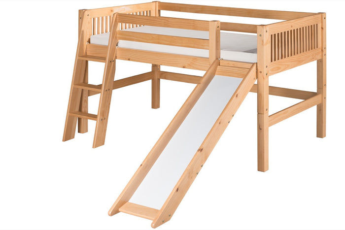 Camaflexi Low Loft Bed with Slide - Mission Headboard - Natural Finish - C511_NT