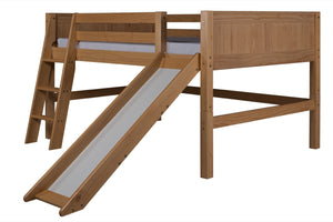 Camaflexi Full Low Loft Bed with Slide - Panel Headboard - Natural Finish - C521F_NT-Loft Beds-HipBeds.com