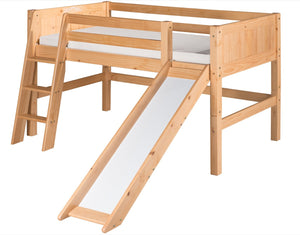 Camaflexi Low Loft Bed with Slide - Panel Headboard - Natural Finish - C521_NT-Loft Beds-HipBeds.com