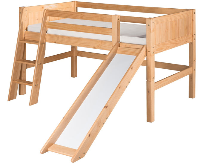 Camaflexi Low Loft Bed with Slide - Panel Headboard - Natural Finish - C521_NT