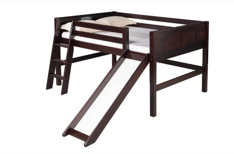 Camaflexi Full Low Loft Bed with Slide - Panel Headboard - Cappuccino Finish - C522F_CP-Loft Beds-HipBeds.com