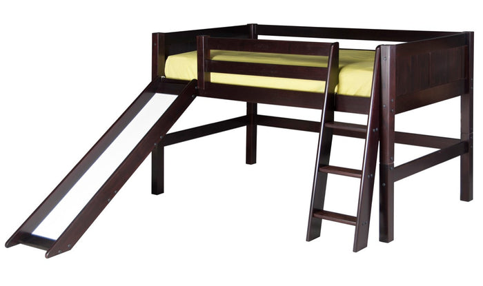 Camaflexi Low Loft Bed with Slide - Panel Headboard - Cappuccino Finish - C522_CP