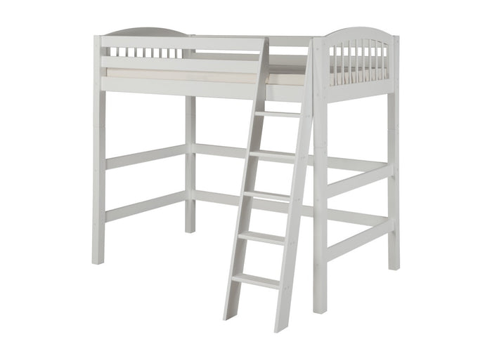 Camaflexi High Loft Bed - Arch Spindle Headboard - White Finish - C603_WH