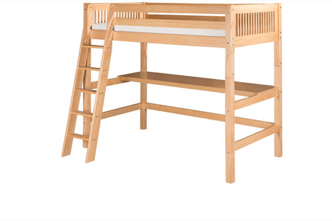 Camaflexi High Loft Bed with Desk - Mission Headboard - Natural Finish - C611D_NT-Loft Beds-HipBeds.com