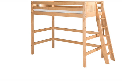 Camaflexi High Loft Bed - Mission Headboard - Lateral Ladder - Natural Finish - C611L_NT-Loft Beds-HipBeds.com