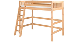 Camaflexi High Loft Bed - Mission Headboard - Natural Finish - C611_NT-Loft Beds-HipBeds.com