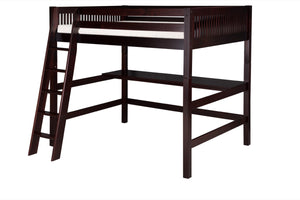 Camaflexi High Loft Bed with Desk - Mission Headboard - Cappuccino Finish - C612D_CP-Loft Beds-HipBeds.com