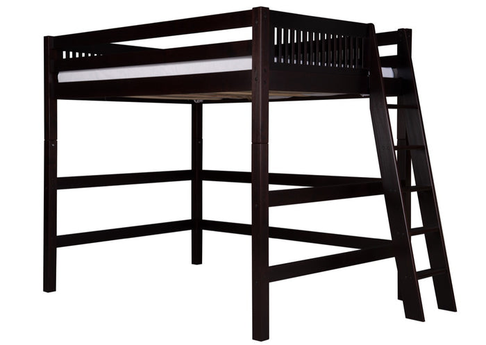 Camaflexi Full High Loft Bed - Mission Headboard - Lateral Ladder - Cappuccino Finish - C612LF_CP