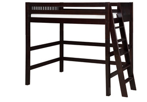 Camaflexi High Loft Bed - Mission Headboard - Lateral Ladder - Cappuccino Finish - C612L_CP-Loft Beds-HipBeds.com