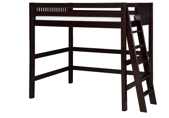 Camaflexi High Loft Bed - Mission Headboard - Lateral Ladder - Cappuccino Finish - C612L_CP