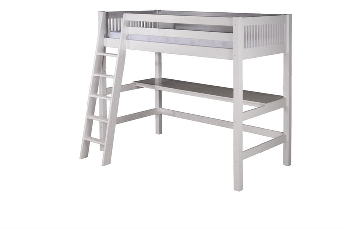 Camaflexi High Loft Bed with Desk - Mission Headboard - White Finish - C613D_WH