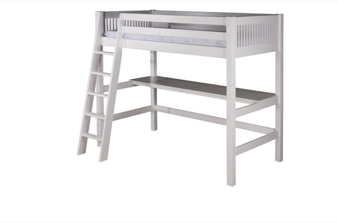 Camaflexi High Loft Bed with Desk - Mission Headboard - White Finish - C613D_WH-Loft Beds-HipBeds.com