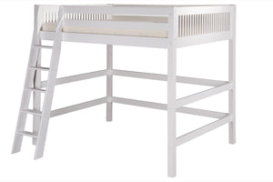 Camaflexi Full High Loft Bed - Mission Headboard - White Finish - C613F_WH-Loft Beds-HipBeds.com
