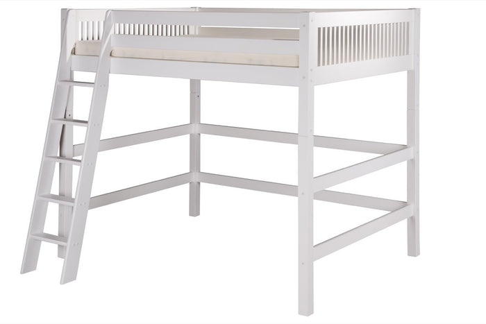 Camaflexi Full High Loft Bed - Mission Headboard - White Finish - C613F_WH