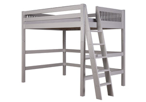 Camaflexi Full High Loft Bed - Mission Headboard - Lateral Ladder - White Finish - C613LF_WH-Loft Beds-HipBeds.com