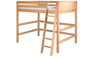 Camaflexi Full High Loft Bed - Panel Headboard - Natural Finish - C621F_NT-Loft Beds-HipBeds.com