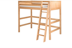 Camaflexi High Loft Bed - Panel Headboard - Natural Finish - C621_NT-Loft Beds-HipBeds.com