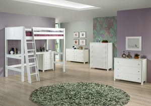 Camaflexi Full High Loft Bed - Panel Headboard - White Finish - C623F_WH-Loft Beds-HipBeds.com
