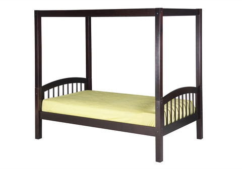 Camaflexi Canopy Bed - Arch Spindle Headboard - Cappuccino Finish - C802_CP-Canopy Beds-HipBeds.com