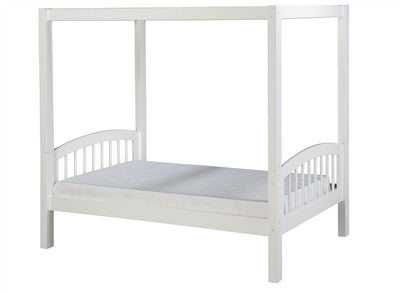 Camaflexi Canopy Bed with Twin Trundle - Arch Spindle Headboard - White Finish - C803_TR