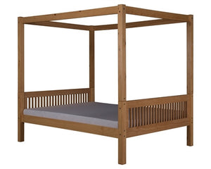 Camaflexi Full Canopy Bed with Twin Trundle - Mission Headboard - Natural Finish - C811F_TR-Canopy Beds-HipBeds.com