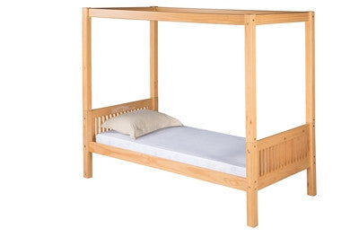 Camaflexi Canopy Bed with Drawers - Mission Headboard - Natural Finish - C811_DR