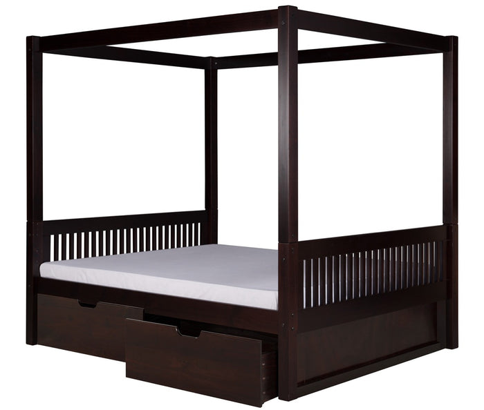 Camaflexi Full Canopy Bed with Drawers - Mission Headboard - Cappuccino Finish - C812F_DR