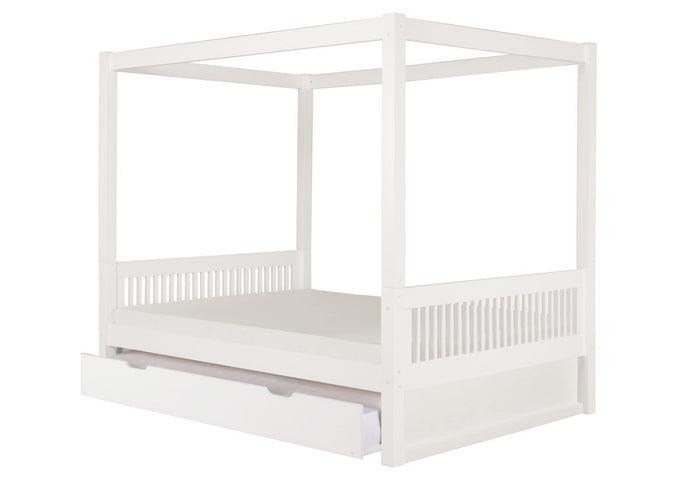 Camaflexi Full Canopy Bed with Twin Trundle - Mission Headboard - White Finish - C813F_TR