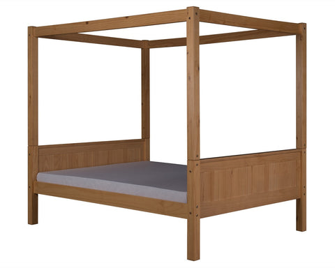 Camaflexi Full Canopy Bed - Panel Headboard - Natural Finish - C821F_NT-Canopy Beds-HipBeds.com